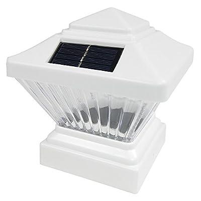4 Pack Black / White Outdoor Garden 4 x 4 Solar LED Post Deck Cap Square Fence Light Landscape Lamp Lawn PVC Vinyl Wood
