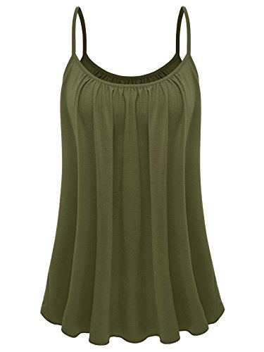 7th Element Womens Plus Size Cami Basic Camisole Tank Top (Army Green,XL)