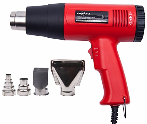 AIKOU 1800W Adjustable Temperature Power 110V Hot Air Heat Gun Fast Heating Blower Kits (Red) ()