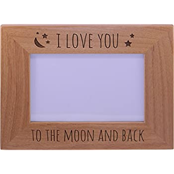 this item i love you to the moon and back wood picture frame holds 4x6 inch photo great gift for motherss fathers day birthdayvalentines day