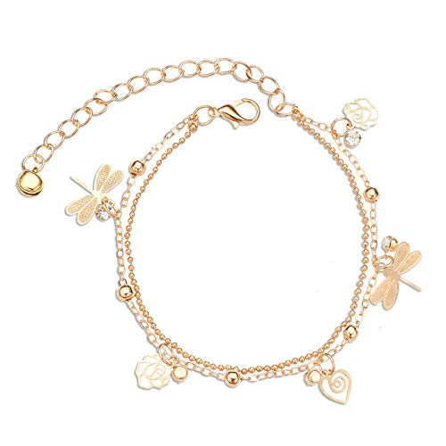 Zealmer Layered Rhinestone Dragonfly Anklet Rose Flower Heart Ankle Bracelet Gold Chain ()