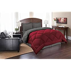 Elegant Comfort Goose Down Alternative Reversible 3pc Comforter Set, King/Cal King, Red/Gray