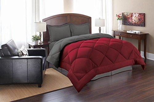 Elegance Linen Silky Soft Goose Down Alternative Reversible 3-Piece Comforter Set, Full/Queen, Red/Gray