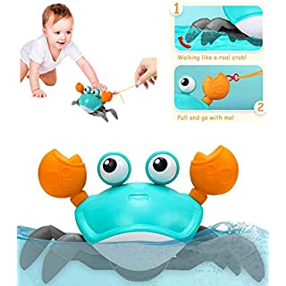Dpower Bath Toys Cute Crab 2 in 1 Pull Toys & Bath Toys for toddlers 1-3 Years, Amphibious Clockwork Bathtub Toys for Kids, Push and Pull Baby toys, Walking Toys