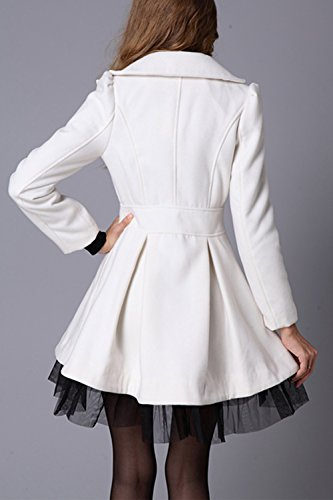Elegante Encaje Invierno Lana Patchwork De Abrigos Doble White Mujer Botonadura Ropa De La Abrigo De RqEH1n1tg