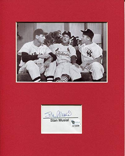 Stan Musial Rare Signed Autograph Photo Display With Mickey Mantle Ted Williams - Autographed MLB Photos - Mickey Mantle Autographed Photo