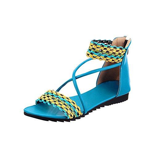 Sandalias planas de los estudiantes dulce del verano yardas grandes Azul