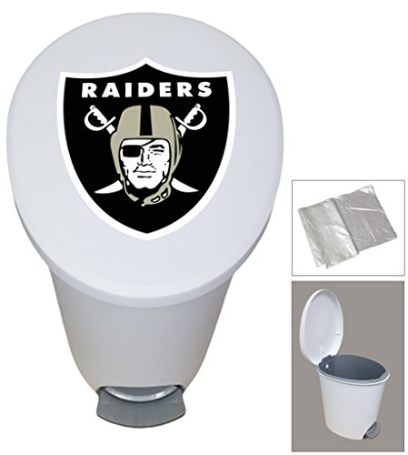 New 2.6 Gallon White Plastic Step Trash Can Waste Basket Featuring the Choice of Your Favorite Football Team Logo - FREE Trash Liner Included (Raiders) (Raiders Wastebasket)