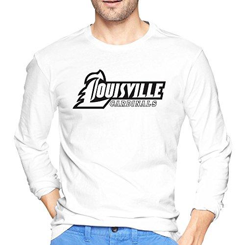 Men's Kentucky Louisville Cardinals Classic Logo T Shirt White Long Sleeve