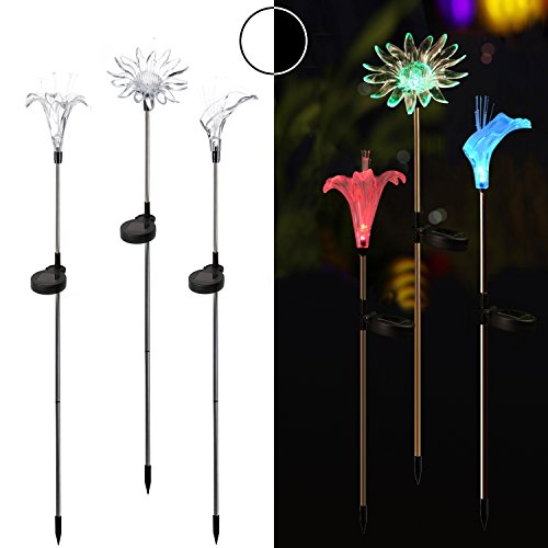 Homemory Solar Stake Lights, Color Changing Garden Lights, 3PCS on Stainless Steel Stake, Lily, Sun flower, Decor for Fence, Yard, gardens, flowerbed (Fence Flower)