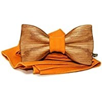 Mens wooden bow tie with pocket square. Wood bow tie. Wooden bow tie.