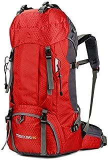 KinTTnyfgi Unisexe Sac à Dos d'alpinisme de Grande capacité 60L imperméable à l'eau de Voyage en Plein air Sac à Dos avec Housse de Pluie (Rouge) pour Work Work Workout