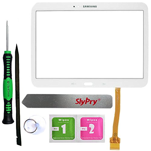 y Tab 3 10.1 P5200 P5210 White Touch Screen Digitizer Panel Glass Replacement Part + PreInstalled Adhesive with SlyPry Tools kit ()