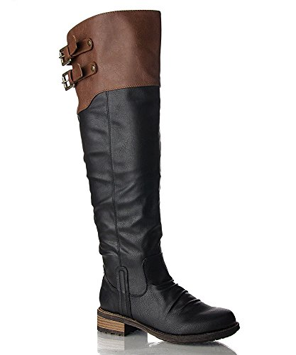 Qupid Relax-01XX Vegan Leatherette Double Buckle Two Tone Stacked Heel Knee High Boot BLACK TAN PU (8.5)