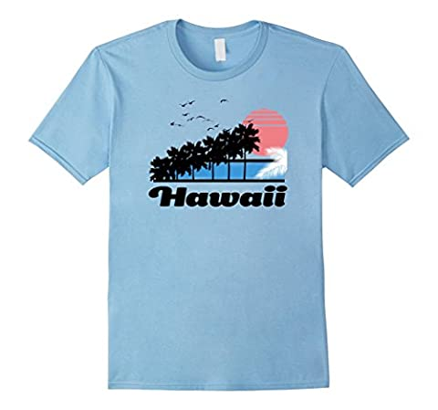 Mens Hawaii retro t-shirt HI vintage beach apparel & surf tee's Small Baby Blue - Beach Apparel