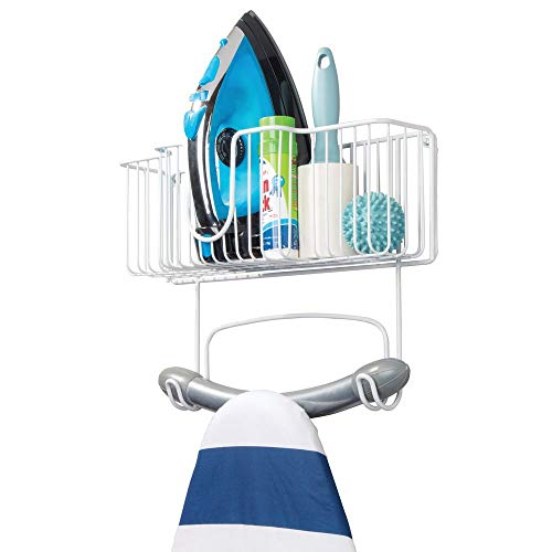mDesign Wall Mount Metal Ironing Board Holder with Large Storage Basket - Holds Iron, Board, Spray Bottles, Starch, Fabric Refresher for Laundry Rooms - White
