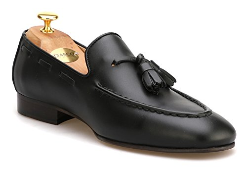 Leather Loafers Firenze Atelier Men's Grain Black On Loafers Penny Full Tassel Slip Handmade XZZPrR