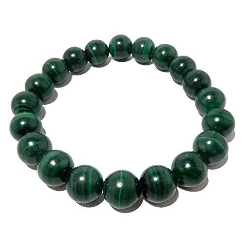 - SatinCrystals Malachite Bracelet 9mm Boutique Genuine Banded Green Gemstone Round Stretch Handmade B02 (7.75