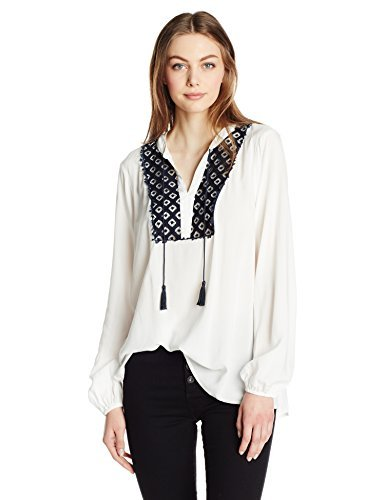 本当のことを言うと洪水ぶどうJones New York Women's Peasant Top With Lace Detail Navy M [並行輸入品]