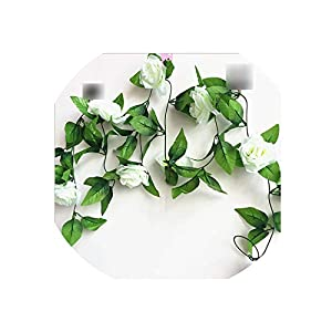 250CM/lot Silk Roses Ivy Vine with Green Leaves for Home Wedding Decoration Fake Leaf Hanging Garland Artificial Flowers,White 63