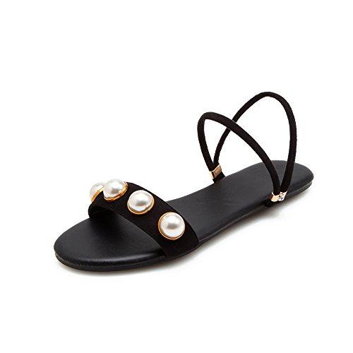 Femmes Télévision Porter Deux Sandales Black Pearl Fashion Chaussures Taille Toe Ouvert Grande AYnq5