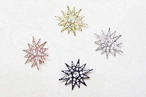 Wholesale Bulk 25pcs CZ Micro Pave 20mm Starburst For Chocker Necklace top quality charm finding by weekbeads