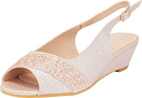 (Cambridge Select Women's Peep Toe Glitter Crystal Rhinestone Buckled Slingback Low Wedge Sandal,8 B(M) US,Rose Gold)