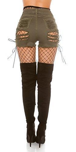 Jeans Shorts Used Look & Schnürung, hellbraun