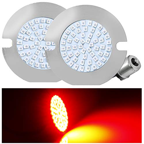 Gen II 1156 Red Rear Turn Signals with 54-SMD Red LED Chips, For Harley Davidson Bikes with a Rear Center Brake Light Behind,3 1/4 in.Flat Style Rear Turn Signal,2 1156 -