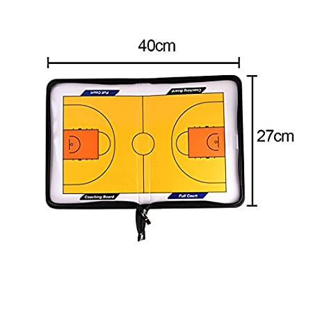 Corally Green Zipper Football Tactics Professional Basketball Football Soccer Coach Magnetic Board Strategy Tactics Coaches Board Coaching Clipboard Kit with Marker Pen Teaching Board Leather