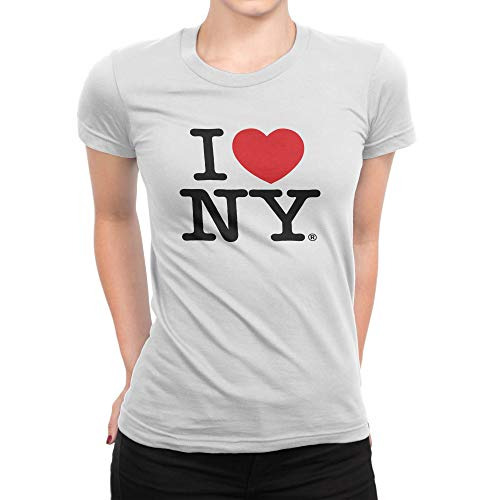 I Love NY New York Womens T-Shirt Spandex Tee Heart White (Heart Love Ladies Fitted Tee)