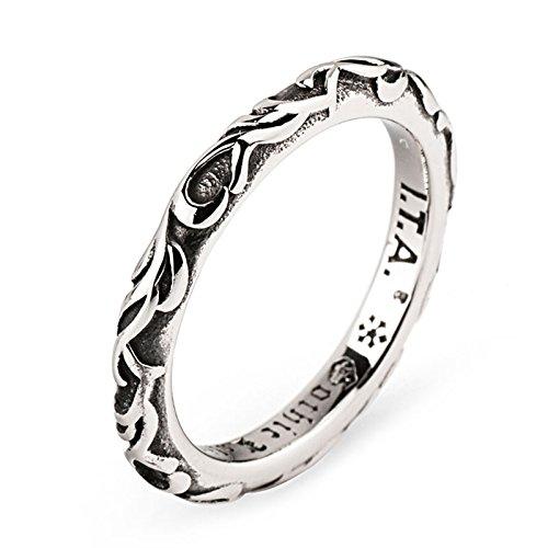 KnSam Ring for Men Women Titanium Steel Vine Pattern Silver Size 8