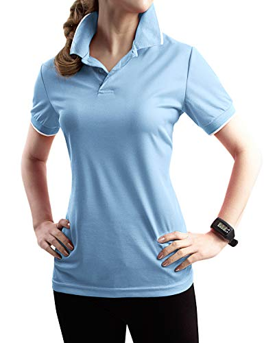 TWINTH Womens Active Sports Wear Short Sleeve 2-Button Polo T Shirt with Plus Size SkyBlue L