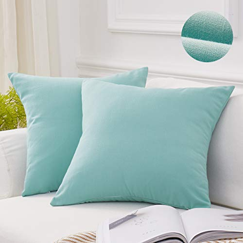 (MoMA Decorative Throw Pillow Covers (Set of 2) - Linen Blend Pillow Cover Sham Cushion Cover - Throw Pillow Cover - Sofa Throw Pillow Cover - Square Decorative Pillowcase - Teal Blue Green - 18