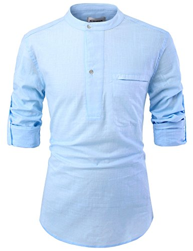 - NEARKIN NKNKN381 Mens China Collar Henley Neck Roll-Up Sleeve Basic Linen Shirts Sky US M(Tag Size M)