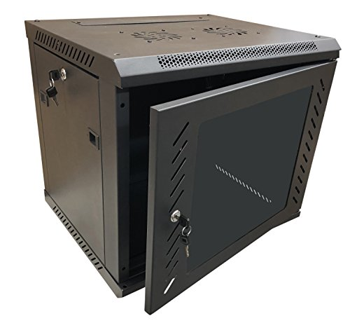 Wall Mount Audio Rack - Kenuco 9U Wall Mount Rack Server Cabinet Data Network Enclosure 19-inch Server Network Rack with Locking Glass Door 16-inches Deep Black