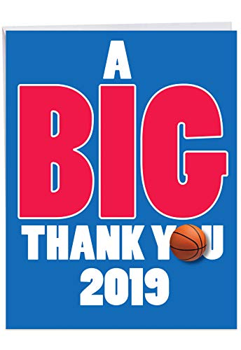 Jumbo Humorous Graduation Thank You Greeting Card From All of Us: Basketball - 2019 Terrific for Anywhere On or Off the Court, with Envelope (Large Size: 8.5