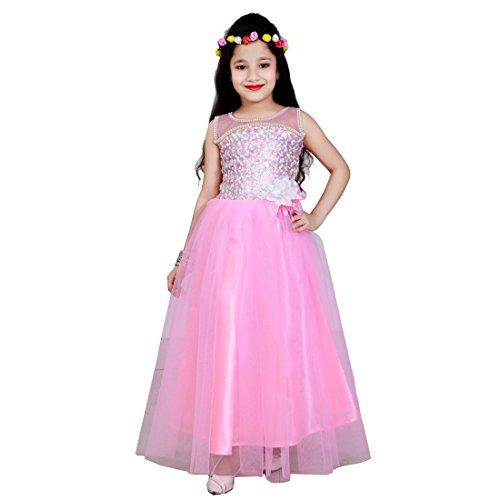 Aarika Girl's Pink Self Design Net Gown with Hairband (2822-PINK_40_13-14 Years) by Aarika
