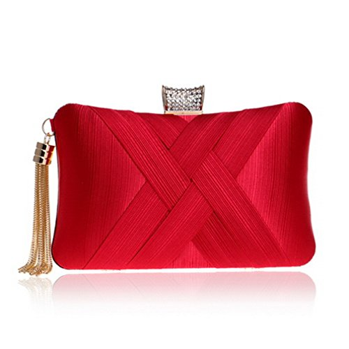 Clutch Purse Shoulder Bags Ym1185red Chain Small Bag Evening Handbags Women Bags Phone Tassel Day Pocket Lady Key ZUIx4a