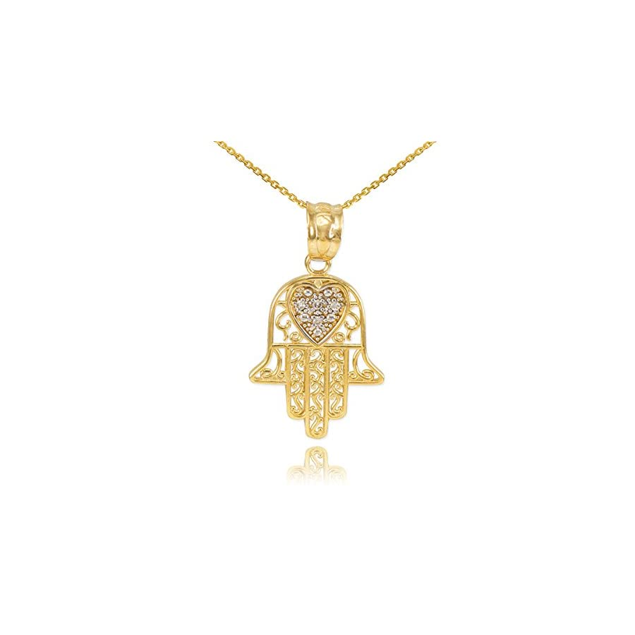 Middle Eastern Jewelry Fine 14k Yellow Gold Diamond Accented Heart Filigree Style Hamsa Pendant Necklace