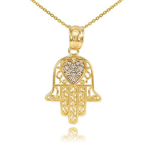 Middle Eastern Jewelry Fine 10k Yellow Gold Diamond-Accented Heart Filigree-Style Hamsa Pendant Necklace, 16