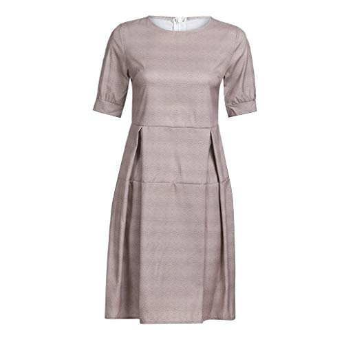 (Women's Half Sleeve Solid Casual Vintage Work Office A Line Knee Length Dress)