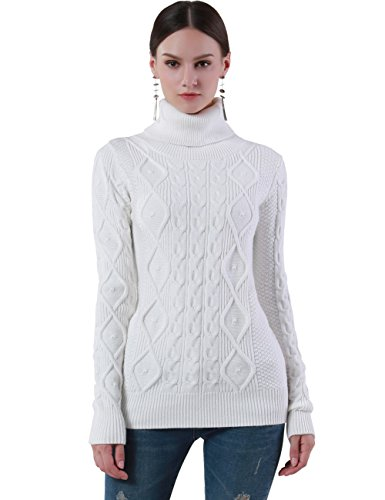 PrettyGuide Women's Turtleneck Sweater Long Sleeve Cable Knit Sweater Pullover Tops XL Off (Ribbed Knit Turtleneck Sweater)