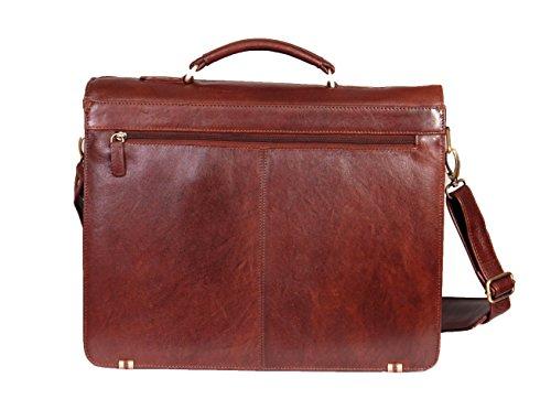 Cuir véritable épaule entreprise mallette Organisateur Messenger sac d'ordinateur portable 880 Brun