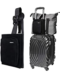 Luggage Straps for Suitcases add a bag Easy Bag Bungee Bag Holder with Storage Bag Strap Organizer Travel Accessories Belt, Suitcase Straps no elastic, Zipper Black