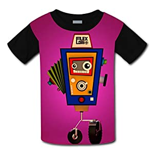 Crew Neck New Slim fit T-Shirts 3D Custome With Cartoon Robot For Unisex Kid L