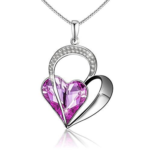 Menton Ezil Love Heart Swarovski Crystals Pendent Silver Plated Adjustable Necklace (Love Guardian (Purple)) (Silver Plated Heart Bracelet)