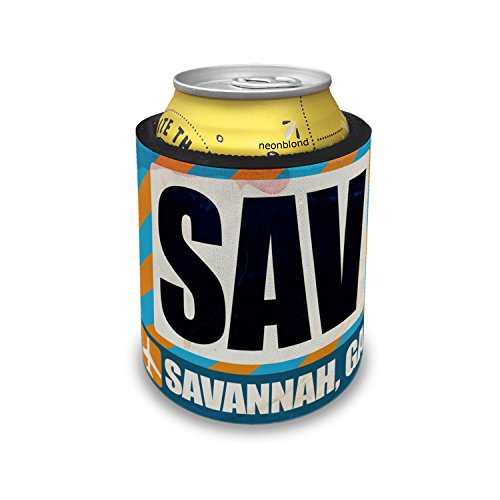 Slap Can Coolers Airportcode SAV Savannah, GA Insulator Sleeve Covers Neonblond ()