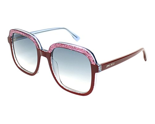 Jimmy Choo Glint/S Sunglasses Burgundy Glitter Fuchsia / Gray Gradient by JIMMY CHOO