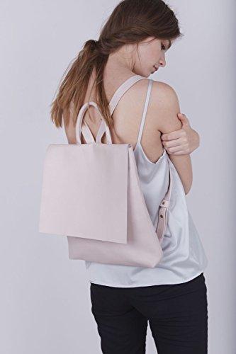 Handmade Feminine Genuine Nude Pink Leather Slim Laptop Tablet Backpack Purse by Lady Bird Bags